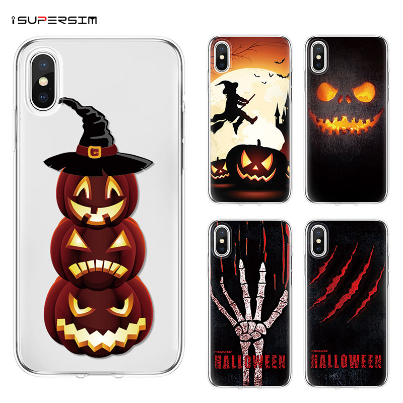 Pumpkin Halloween Bat Horror Theme Cases for iPhone X 4 4S 5 5S 5C SE 6S 6 7 8 Plus XR XS Max Case for iPhone X Case Coque Cover