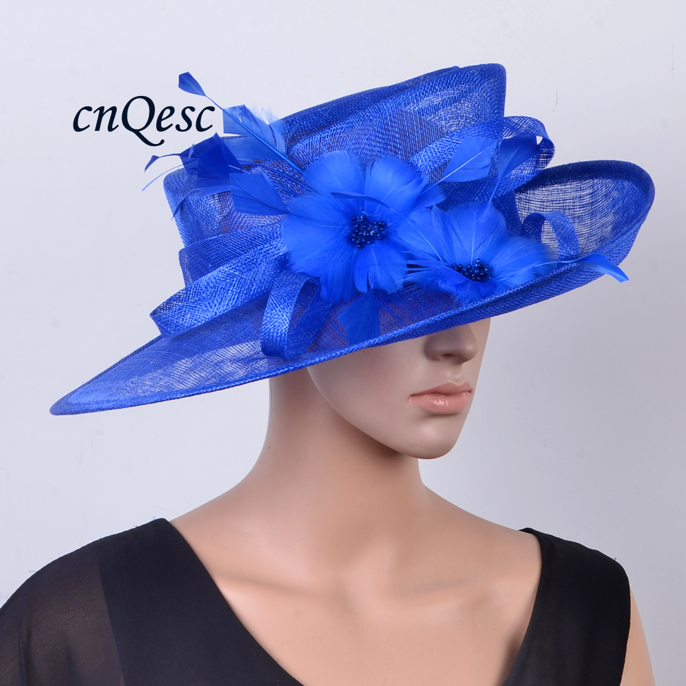 95c143d1118 Wholesale big Royal blue Wide brim Church Sinamay women s hat with ...