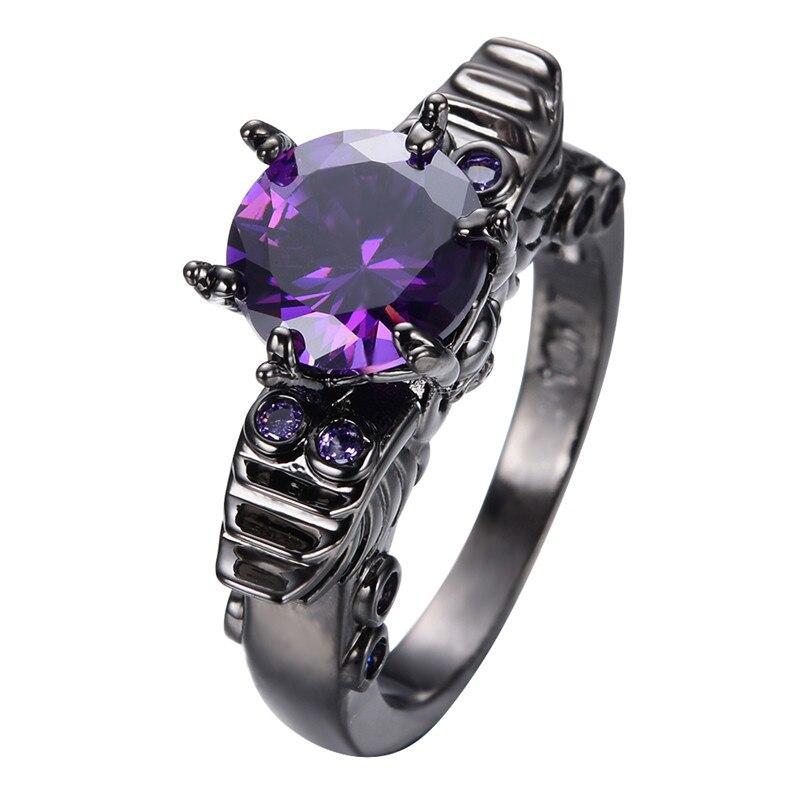 skull wedding ring black gold filled round purple zircon stone ring for female bridal party new - Skull Wedding Ring