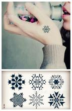 Body Art Waterproof Temporary Tattoos For Men Women Fresh 3d Snowflake Design Flash Tattoo Sticker HC1015