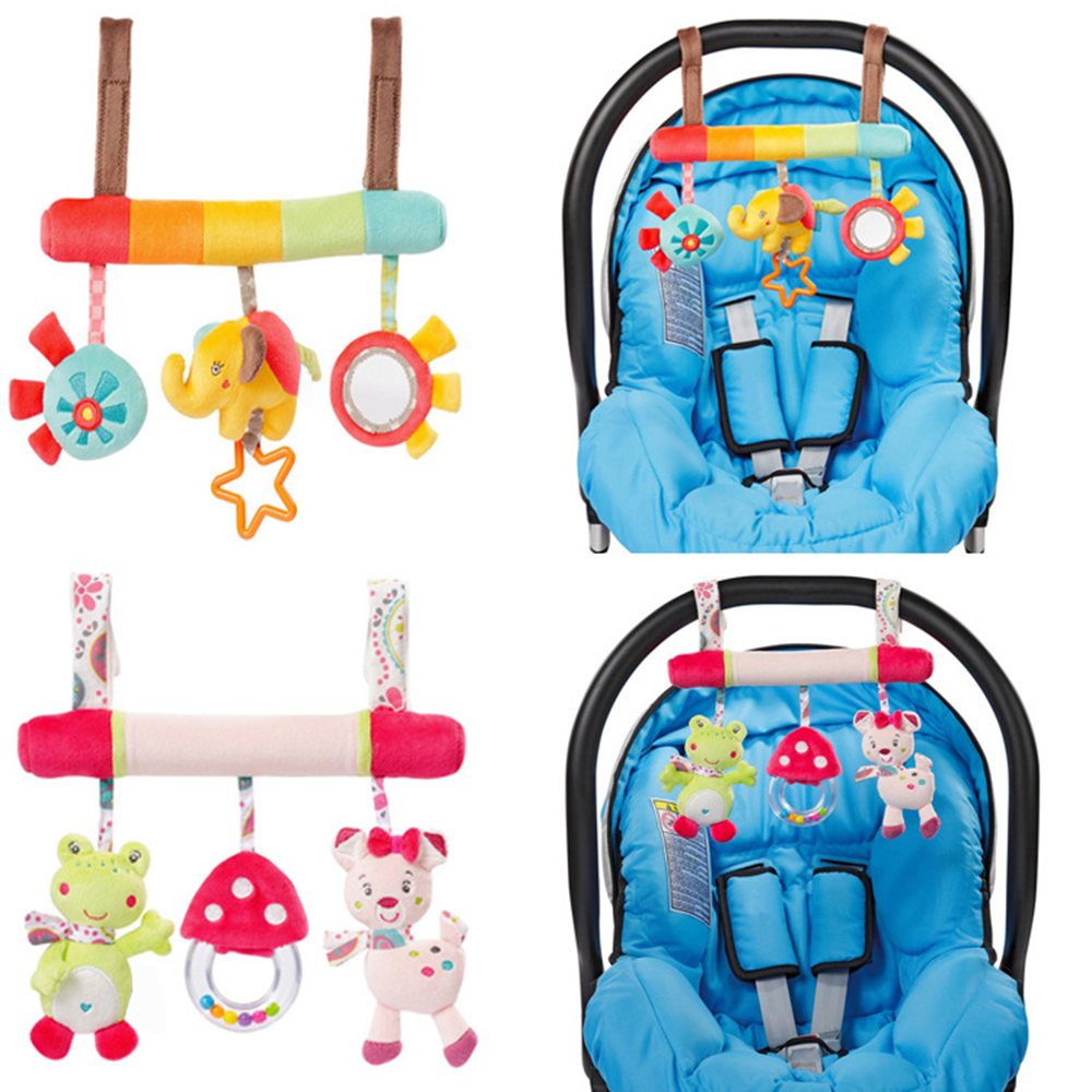 Infant Animal Crib Car Bed Rattles Toys Baby Seat Accessories Cloth Plush Bed Hanging Rattles Baby Sleep Appease Toy G0234