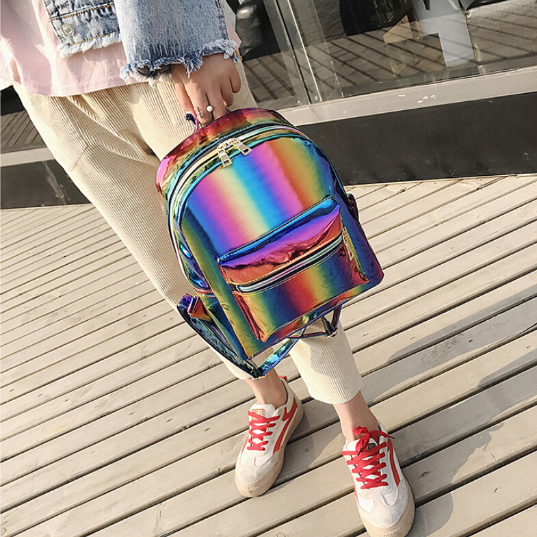 2019 New Hologram Laser Backpack For Girls School Bag  Women Rainbow Colorful Metallic Silver Laser Holographic Backpack
