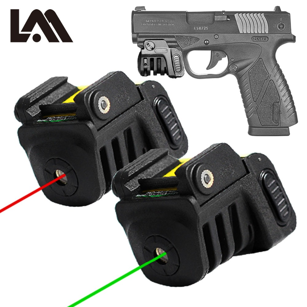 Pistolet Mini Rouge/Vert Laser Tactique Militaire Vitesse USB Rechargeable Pour Presque Glock Poulain 1911 Taureau Pistolet Compact Pistolet