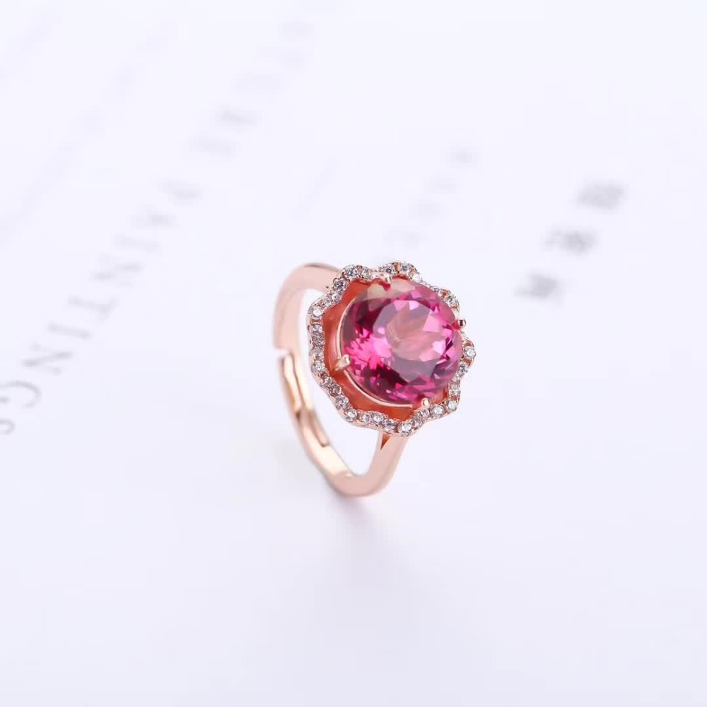 fine jewelry factory wholesale fashionable 925 sterling silver gemstone 7mm round shape pink topaz ring for women