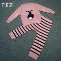 TBZ Bobo Estilo Coelho Crianças Se Adapte Às Blusas de tricô + Tarja Calças de Outono Do Bebê Das Meninas Dos Meninos Define Vestuário Moda infantil conjuntos