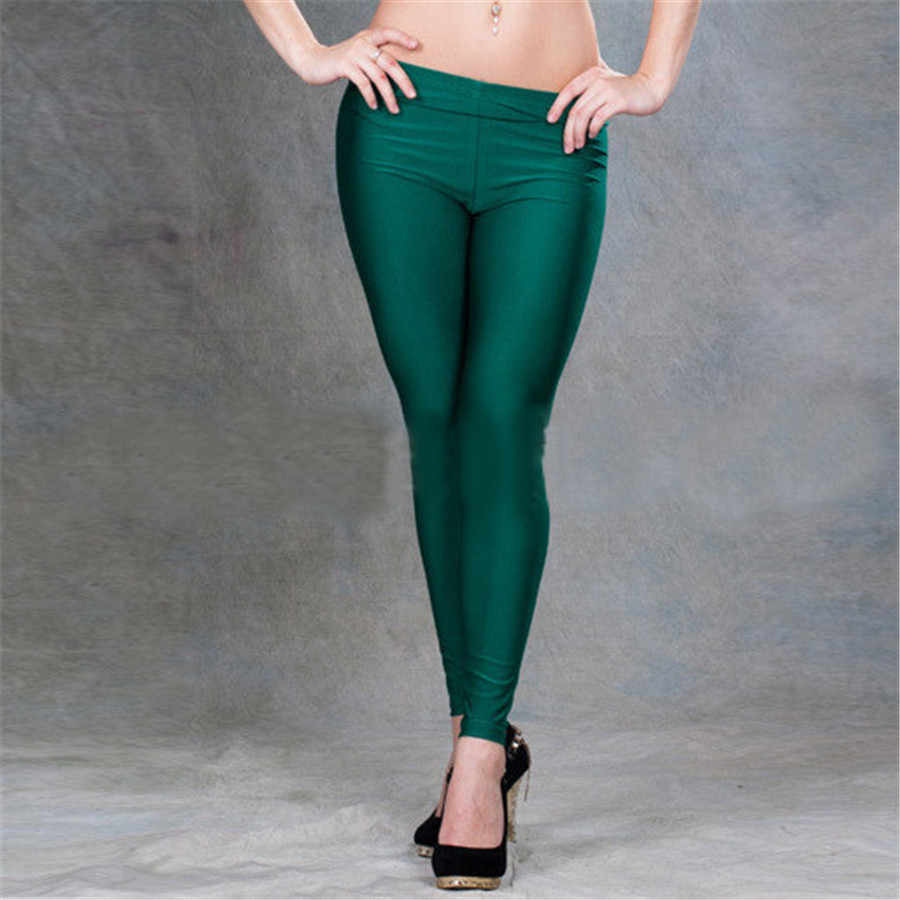 63e8e4a503 ... yuqung Black Womens Leggings Lycra spandex shiny legging workout Leggins  Capris pants Fitness Nine Ankle length ...