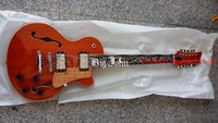 free shipping new Big John 12 strinig flamed maple top double f hole flower inlay chrome hardware electric guitar F 2121