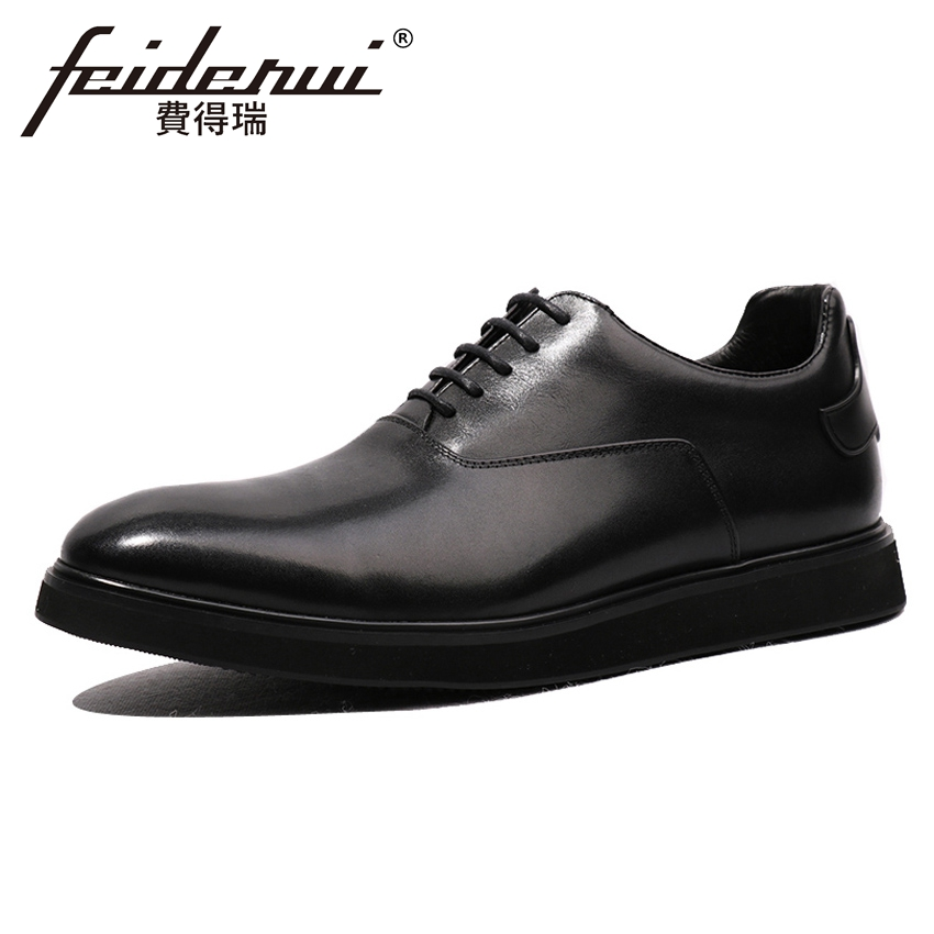 New Arrival Genuine Leather Handmade Men's Flat Platform Oxfords Round Toe Man Formal Dress Banquet Comfortable Shoes HQS206 2016 new arrival fashion real genuine leather formal designer brand man flat heels round toe men s elastic casual shoes glm1240 page 6