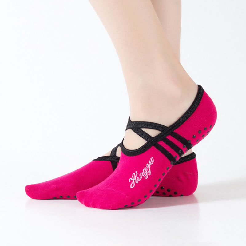 Yoga Socks Women Round Head Backless Cotton Non-Slip Bandage Sports Socks Ventilation Pilates Ballet Socks Dance Sock Slippers sports yoga slipper women anti slip cotton cycling socks ladies pilates socks ballet heel protector professiona yoga dance socks