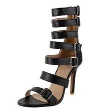 Весной и летом 2017 новый сексуальный с открытым носком шпильках крест ремнями Пряжки Черный Рим сандалии молния негабаритных обувь
