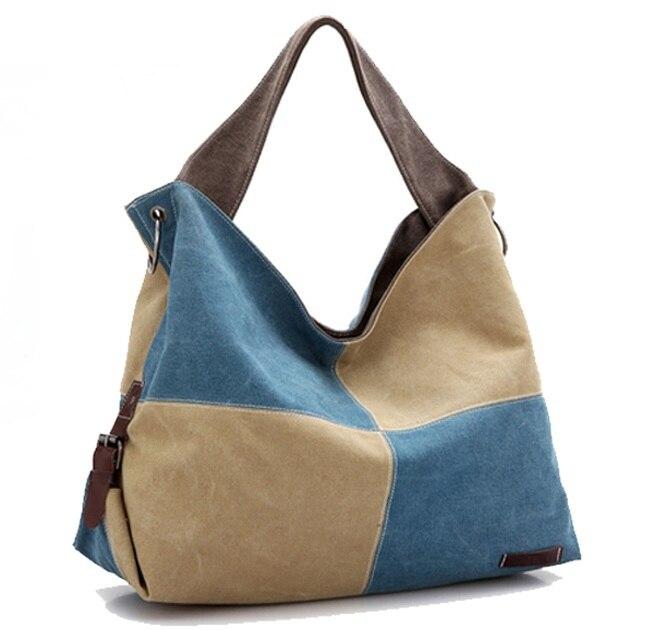 ФОТО Women Handbags Canvas Patchwork Big Tote Bags Large Capacity Female Shoulder Bag High Quality 2015 Ladies Crossbody Bags Bolsos