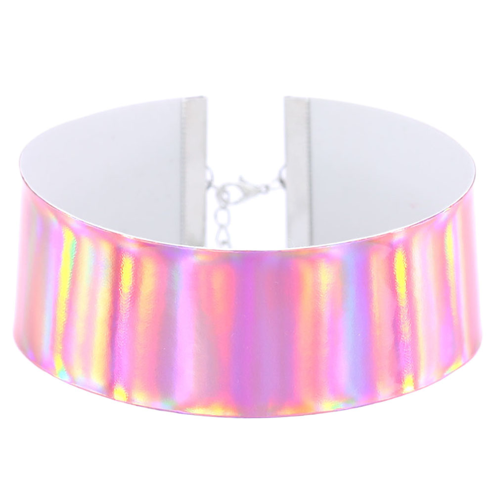 Dedicated Femme Laser Wide Gothic Punk Holographic Chocker Hologram Smooth Pu Leather Choker Necklace Collar Necklace Neck Jewelry With A Long Standing Reputation