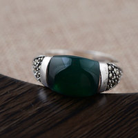 925 Silver MARCASITE Rings For Men Women Jewelry Natural Green Stone 100 Real S925 Sterling Thai