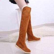 Для женщин эластичные ботфорты из искусственной замши высокие женские ботинки пикантные модные Ботфорты женская обувь