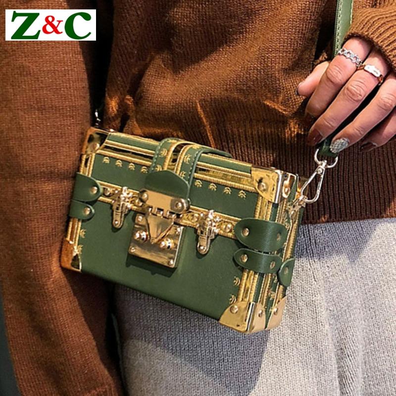 Luxury Brand Green Clutches Women Handbag Evening Party Hand Bag Metal Rivet Famous Design Box Bag Purse Women Shoulder Bags Sac women famous brand crystal evening purse metal clutches gold