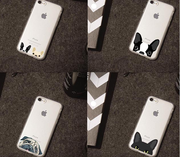 Cute Cartoon Animal Cat Dog BULLDOG Phone Case For iPhone 5 5S 7 7Plus 6s 6Plus Crystal Clear Soft TPU Gel Flexible Skin Cover