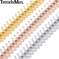 14mm Womens Chain Girls Ladies Centipede Rose Gold Filled GF Necklace Personalize Sz 18 36inch New