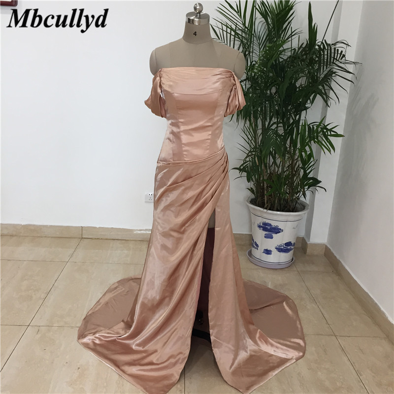 Mbcullyd Side Split   Bridesmaid     Dresses   For Women 2019 Boat Neck Off Shoulder Mermaid Long Prom Party Gowns vestidos de fiesta