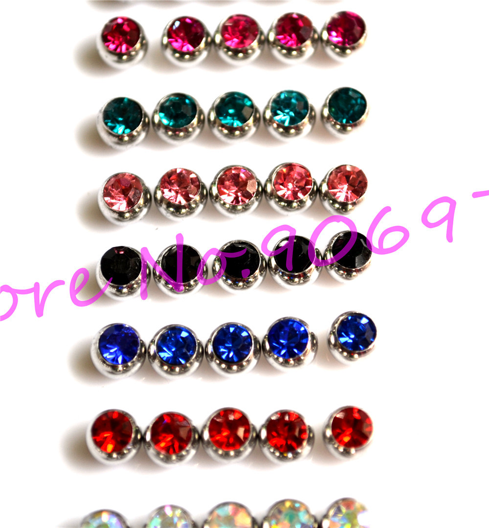 Tongue Bar Ball Jewel Stone Gem Crystal Clear Lip Stud Eyebrow Rind 3mm 6mm 316l Stainless