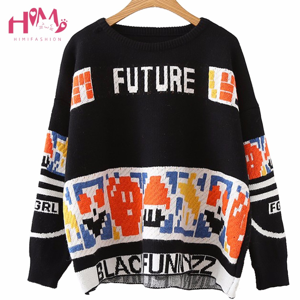 Autumn Winter New Collection Japanese Vintage English Letters Print Round Neck Sweaters Loose All Match Basic Design Sweaters