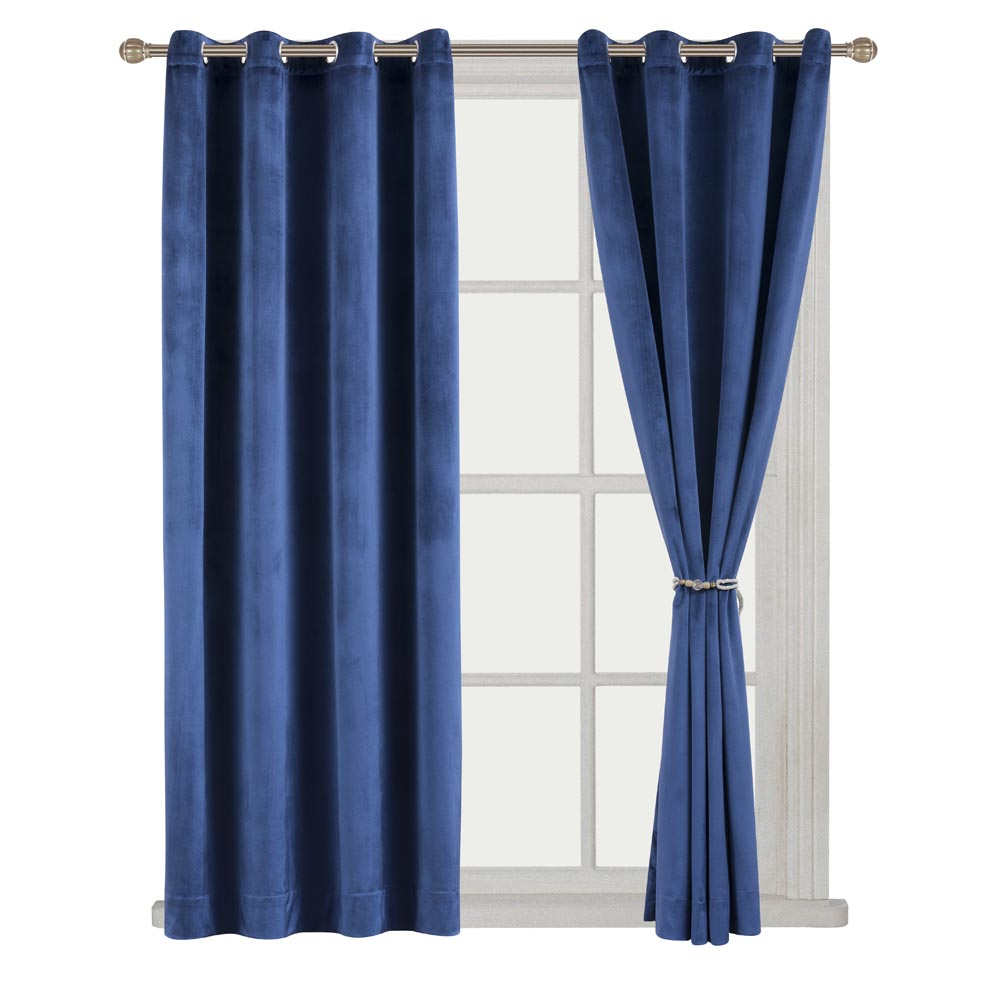Red velvet window curtains - Solid Matt Heavy Velvet Curtain Drape Panel Blackout Super Soft Nickel Grommet Burgundy Theater Blue 52wx63l 52wx84l 52wx96l