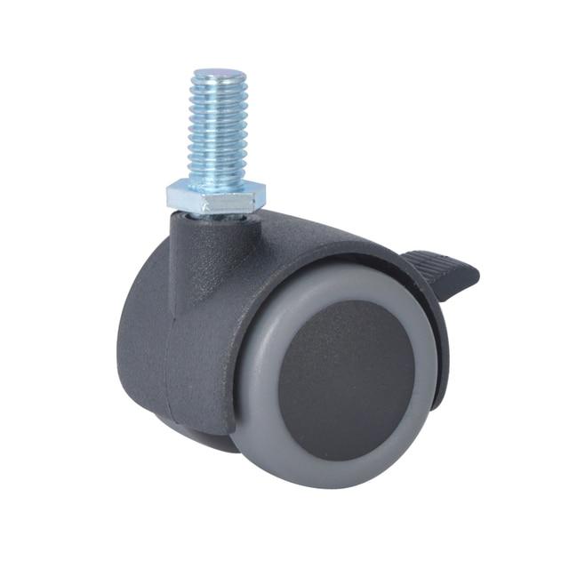 4PCS EDL 30mm 10Kg PA Nylon Polyurethane Wheels Castors Thread Screw Brake  Locking Roller Furniture Casters