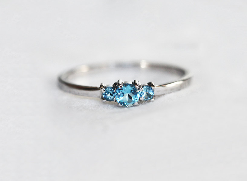 Rings For Women 14k Solid Gold 0 1ct Blue Topaz Ring Three Stone Engagement Gemstone Wedding Jewelry In From