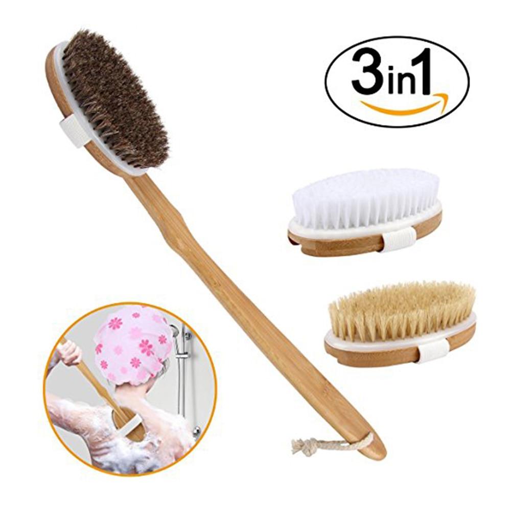 3 Colors/Heads Detachable crank horse mane hair bath brush long handle rubbing soft hair