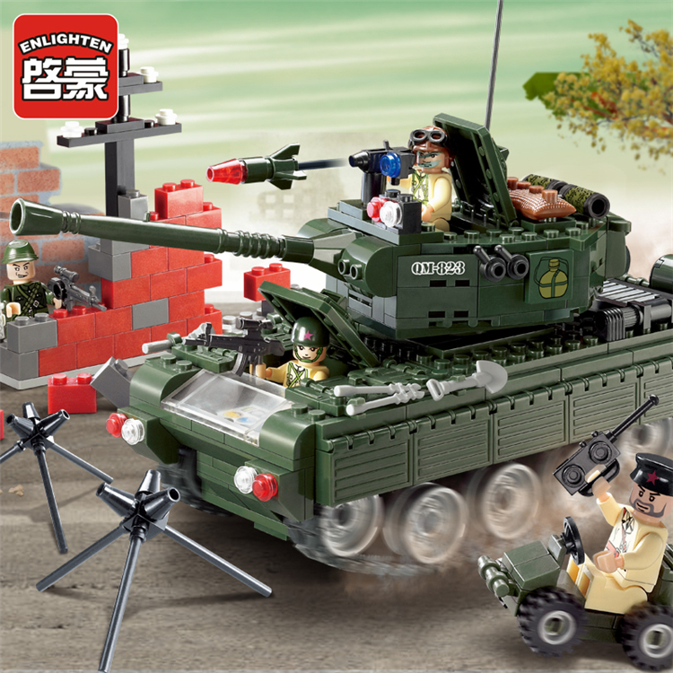 Enlighten 823 Combat Zones Modern Military Army Tank SWAT Model Bricks DIY Building Blocks Toys For Gift