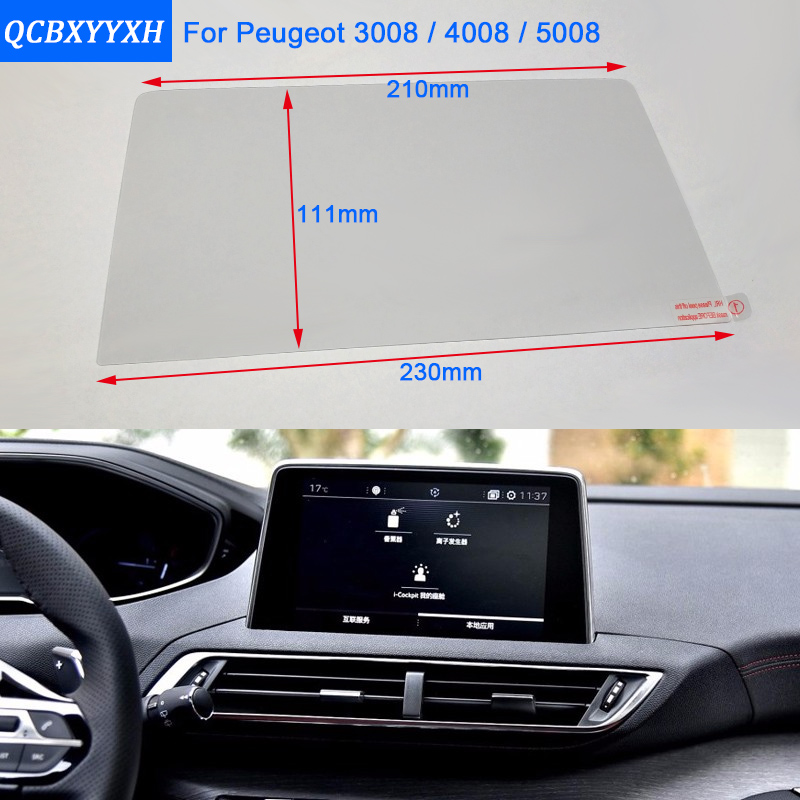 Otomobiller ve Motosikletler'ten Araba Çıkartmaları'de Araba Styling 8 7 Inç GPS Navigasyon Ekran Çelik koruyucu film Peugeot 3008/4008/5008 Kontrol LCD ekran Araba Sticker title=