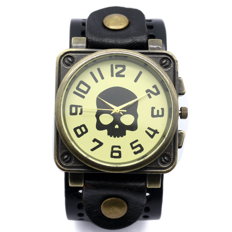 Vintage Cool Black Skull Face Leather Band Bracelet Quartz Wristwatch Bangle Casual Unisex Women Men Relogio Masculino Clock gothic skull hand pu leather bracelet black silver