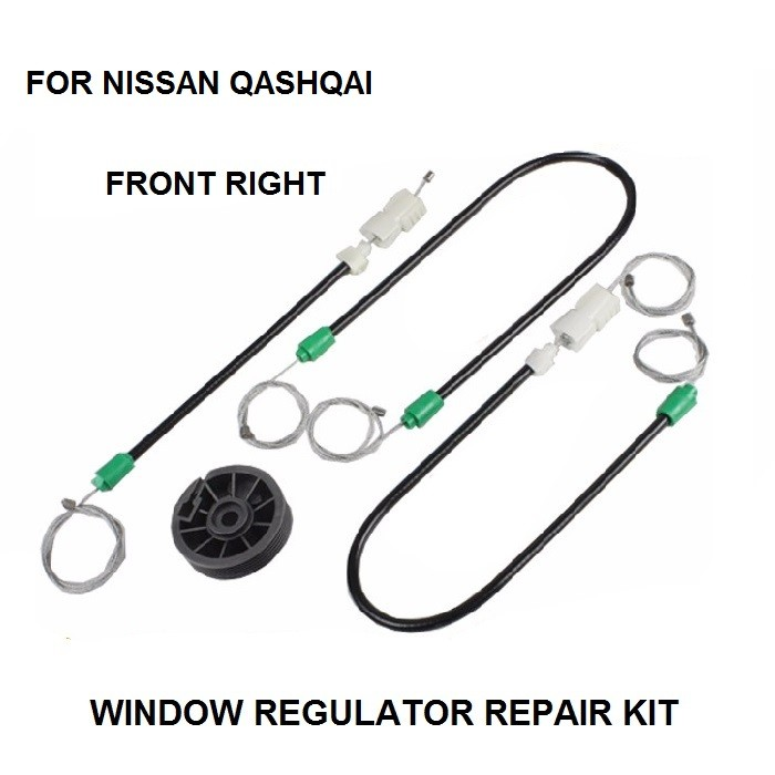 WINDOW REGULATOR REPAIR CABLES AND ROLLER FOR NISSAN QASHQAI FRONT-RIGHT 2002-2016