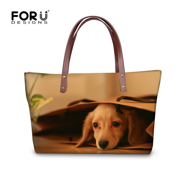 bd539938e2e FORUDESIGNS Grappige 3D Teckel Hond Patroon Draagtas voor Vrouwen Luxe Merk  Dames Top handvat Tassen Reizen