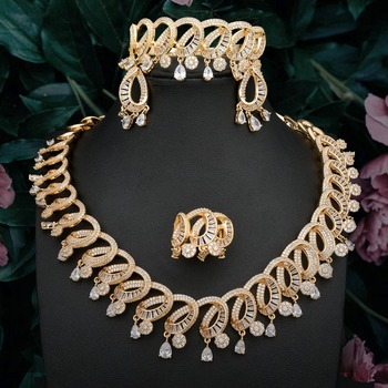 ModemAngel Brand Fashion Gold Color Women Necklace Bangle Earring Ring Fashion Set With Full Cubic Zircons