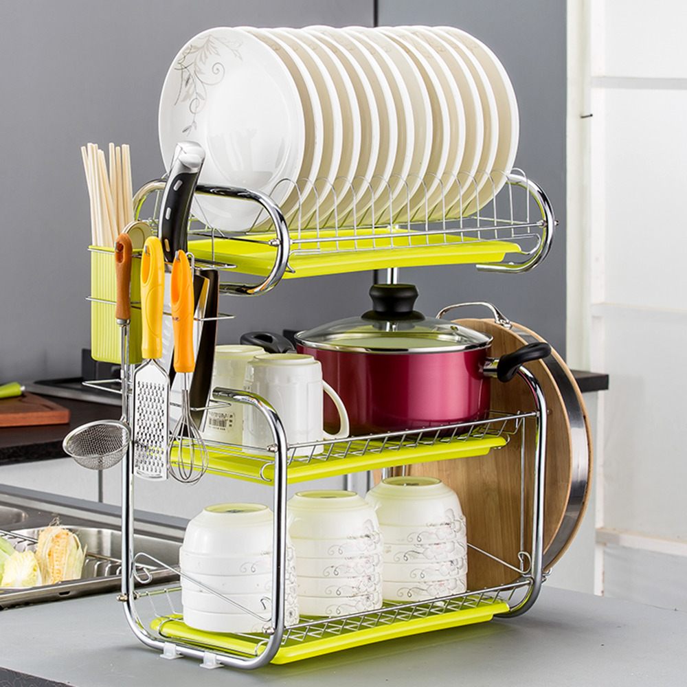 Kitchen Rack Set: C Shaped Dish Rack Set 2/3 Tier Chrome Stainless Plate