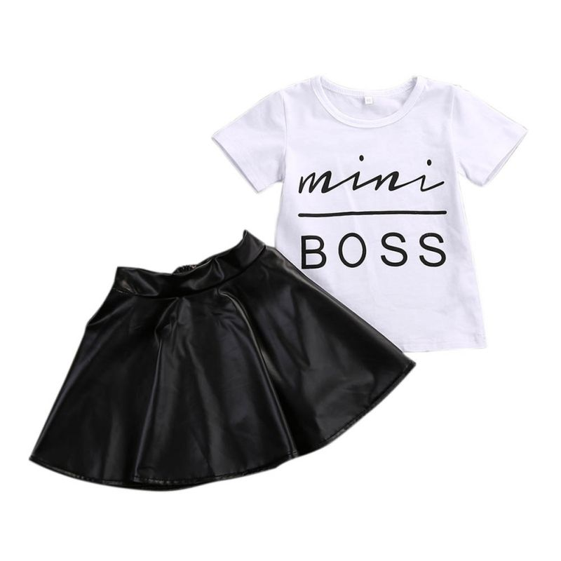 2PCS Toddler Kids Girl Clothes Set Summer Short Sleeve Mini Boss T-shirt Tops + Leather Skirt Outfit Child Suit little j new fashion kids girl clothes set summer short sleeve love t shirt tops leather skirt 2pcs outfit children suit