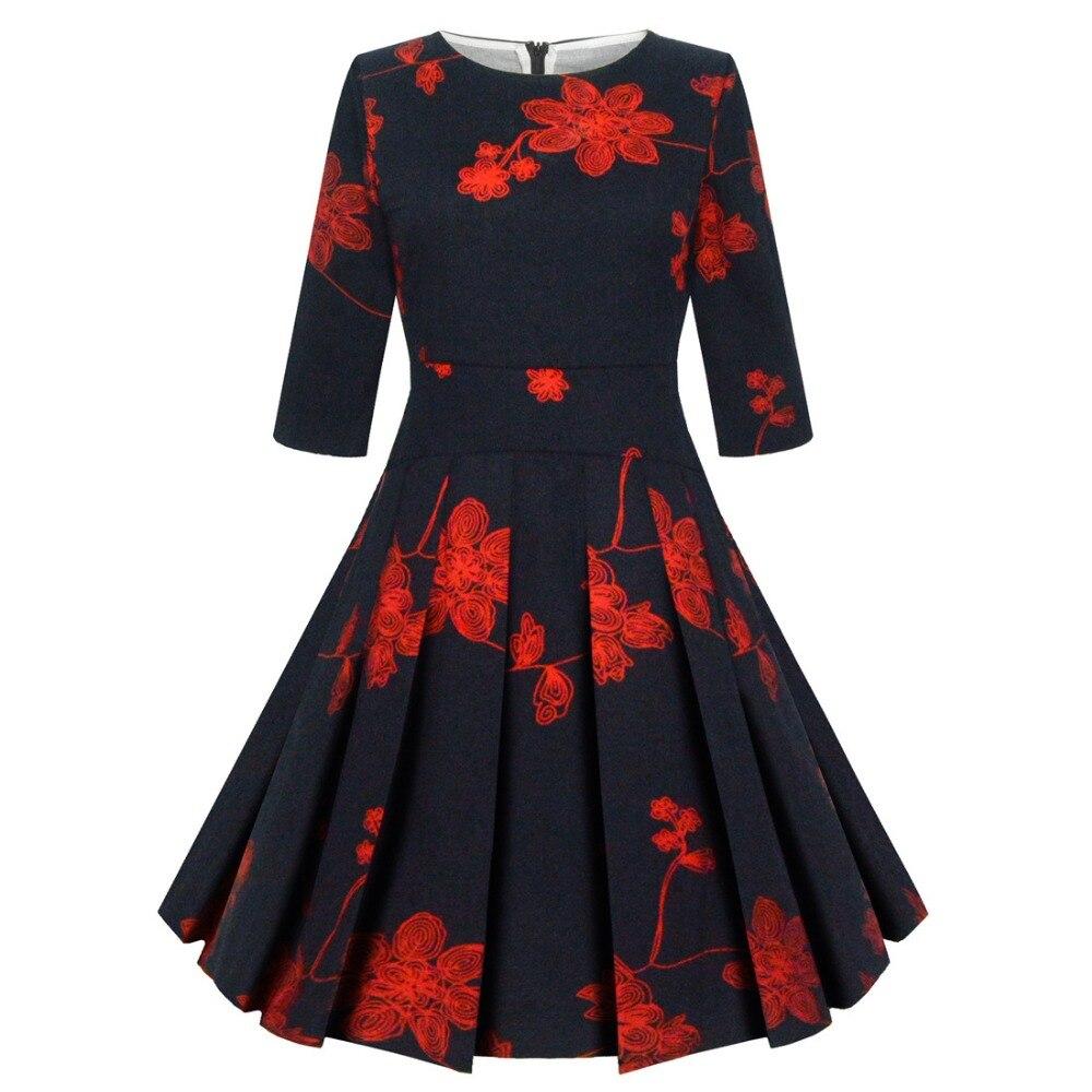 2017 New Autumn Women Printing O Neck Half Sleeve Ball Gown Vintage Dress Hot Sale