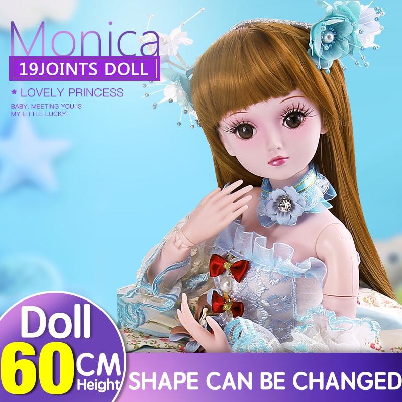 BARBIE 1/3 BJD SD dolls 19 Joints Dolls 60CM Monika reborn baby girls High Quality toys Birthday Children Gifts Evening Dress