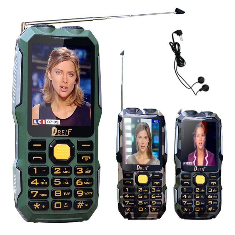 DBEIF D2016 voz mágica Dual FM lanterna ao ar livre À Prova de Choque mp3/mp4 banco de potência da antena TV Analógica telefone móvel Robusto celular P242