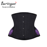 Burvogue Linen Embroidery Corset And Bustier Underbust Satin Corsets Waist Cincher Bustiers Slimming Waist Control Corset