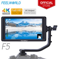 FEELWORLD F5 5 inch On Camera field monitor Full small HD 1920x1080 LCD DSLR monitor DC Power Tilt Arm for 4K HDMI Input Output