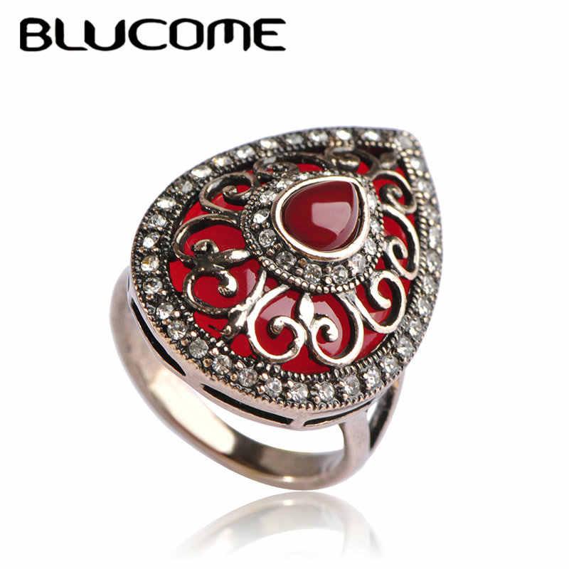 Blucome mais recente estilo do vintage turco anel de noivado coração forma anéis verdes jóias resina cristal festa casamento acessórios
