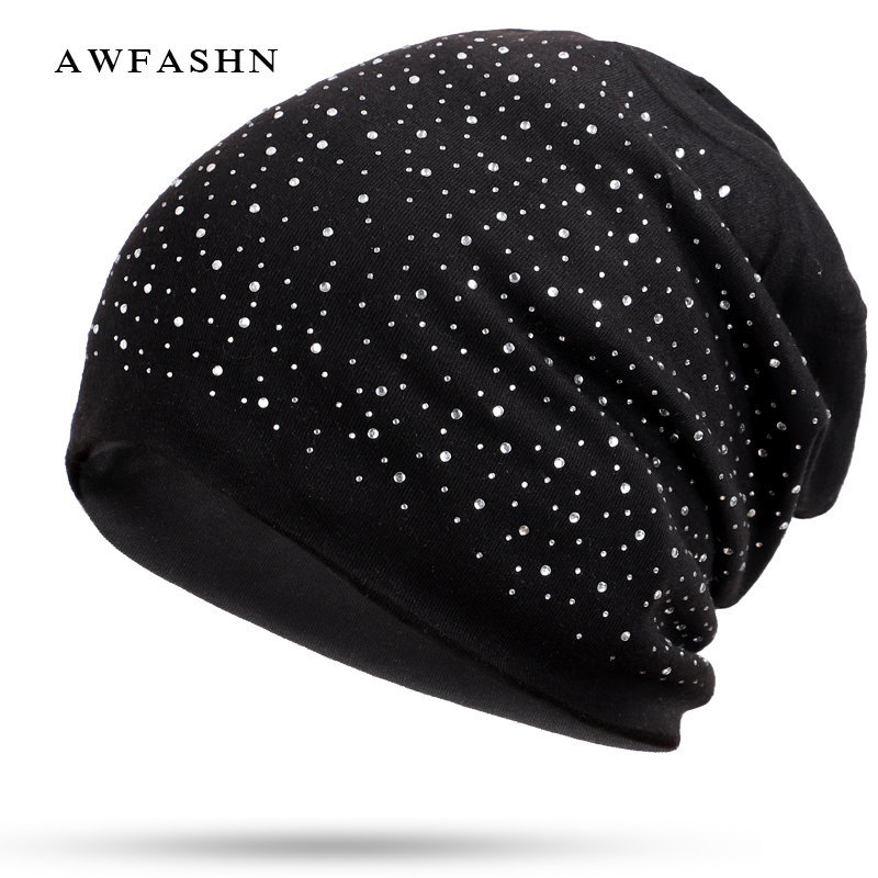 5328395507e New Fashion Rhinestone Beanie High Quality Ladies Diamond Decorative Hat  Woman Winter Spring Autumn Shining Bone Cotton Soft-in Skullies   Beanies  from ...