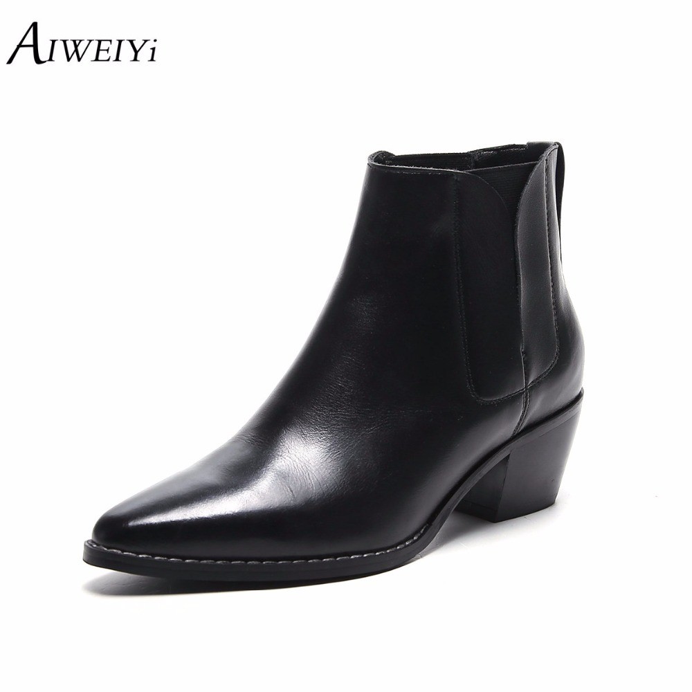 AIWEIYi Women Ankle Boots Shoes Genuine Leather Vintage Slip On Ladies Motorcycle Boots Female Fur Warm Snow Boots Botas ShoesAIWEIYi Women Ankle Boots Shoes Genuine Leather Vintage Slip On Ladies Motorcycle Boots Female Fur Warm Snow Boots Botas Shoes