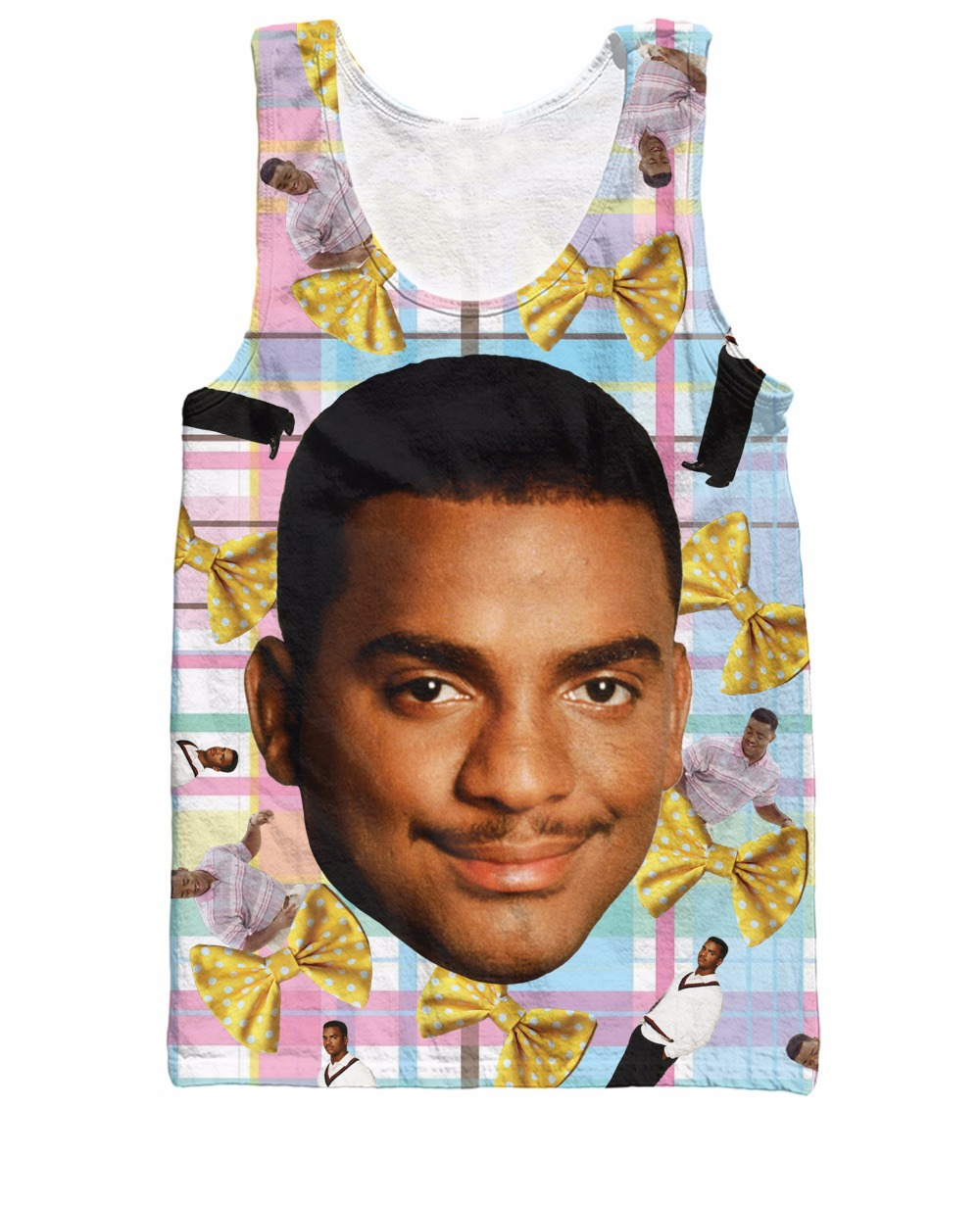 Free Shipping Fresh Prince of Bel-Air Alfonso Ribeiro Carlton Tank Top Women Men 3d Vest Jersey Summer Tops Plus Size