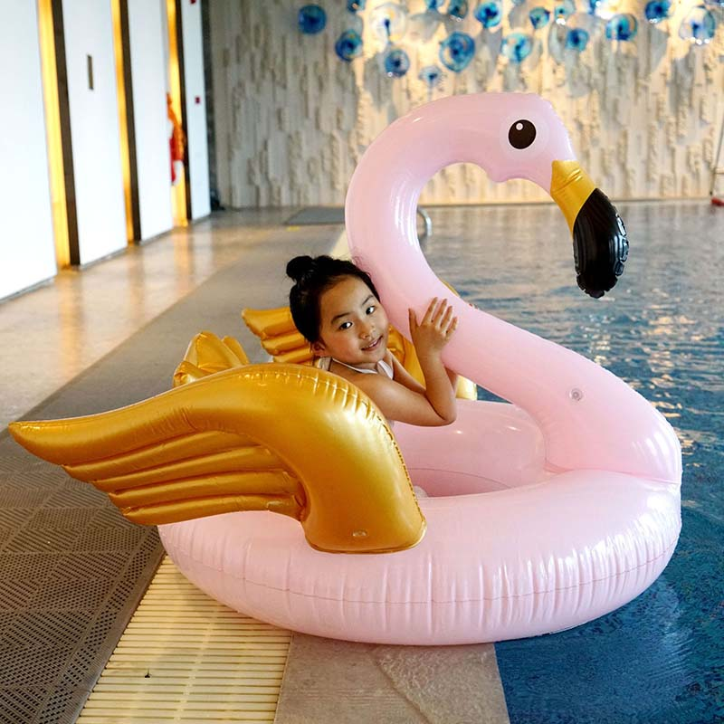 130CM Golden Wings Pink Flamingo Swimming Ring Giant Pool Float Inflatable Swimming Circle For Adults Summer Water Sports Toys