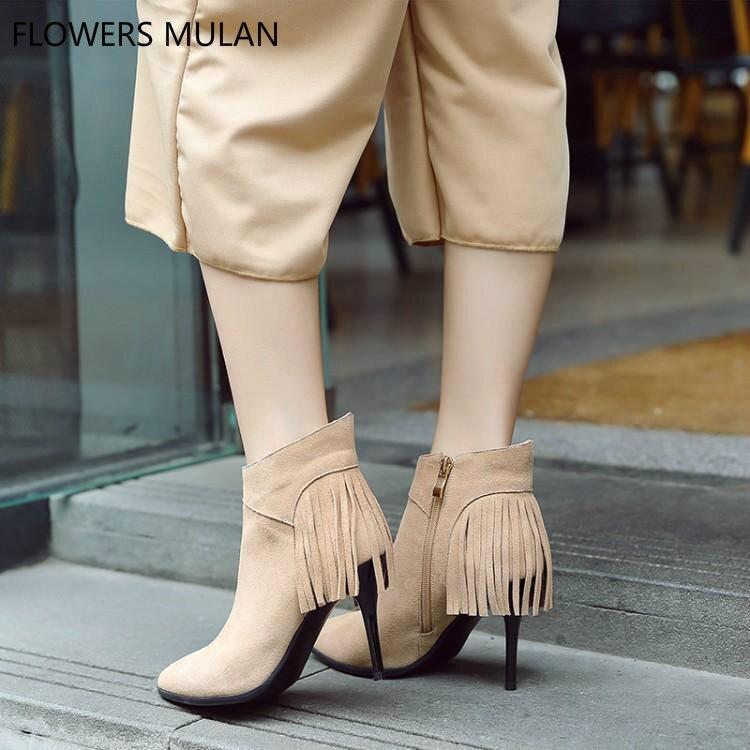 Talons Faux Chaussons As Bout De Hauts Mode Frange Dames Zapatos Retour Abricot Gland Noir Slim Suede Chaussures Show as Rond Femme Bottes Show Hiver 0xwR75