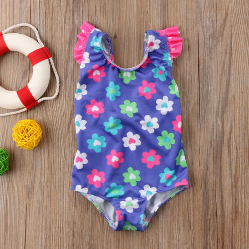 Floral Baby Flower Girls Swimsuit Sun Suit Swimming Costume Bathers