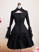 Gothic Lolita Dress Black Long Hime Sleeves Ruffles Lace Trim Cotton Lolita Shirt and Skirt Two Piece Clothing