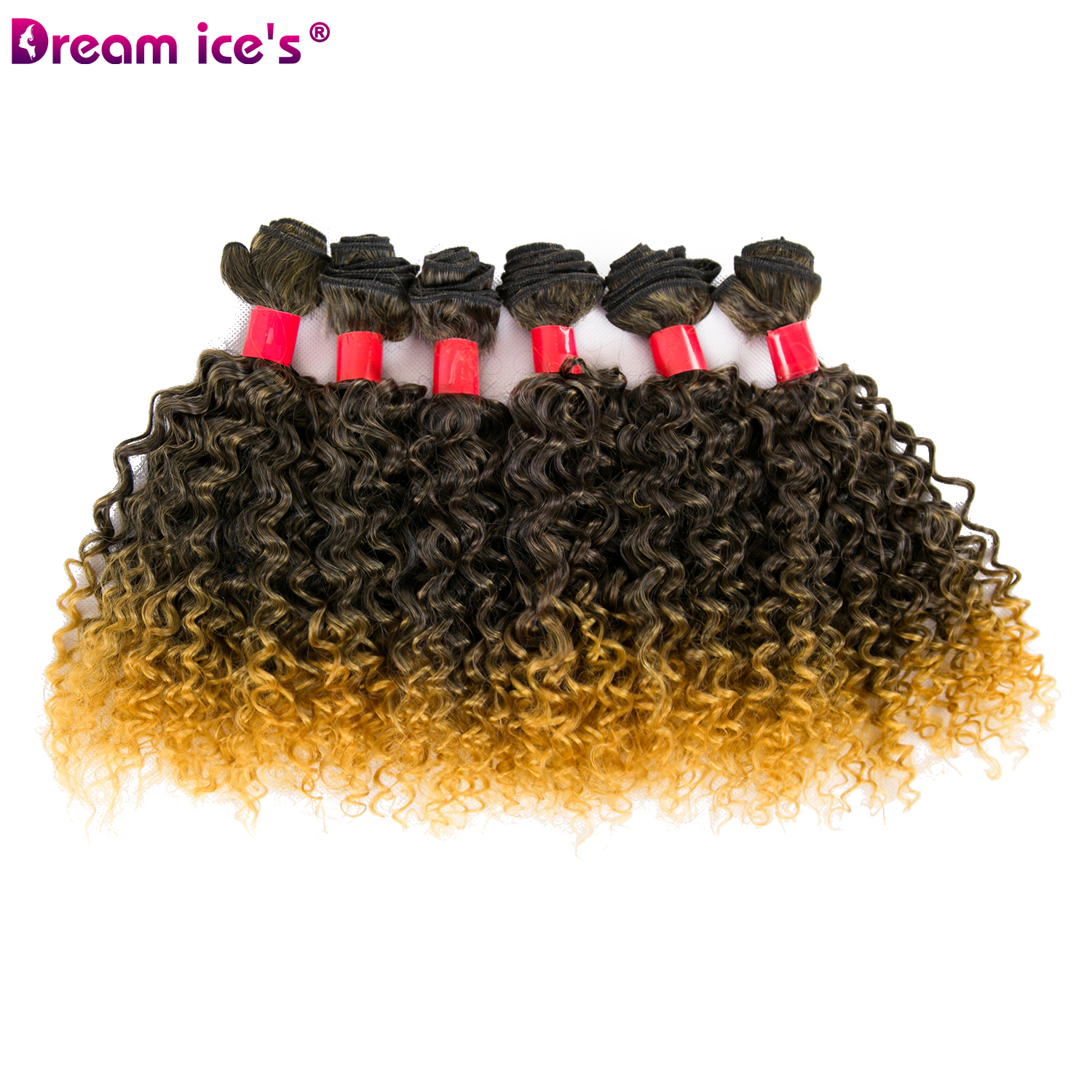 Ombre golden synthetic hair bundle weave afro tissage synthetique short  kinky culry extensions Dream ice's